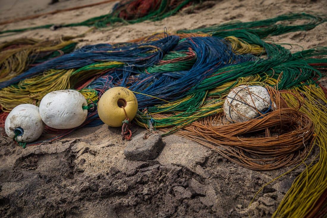 Fischernetz am Strand von Negombo
