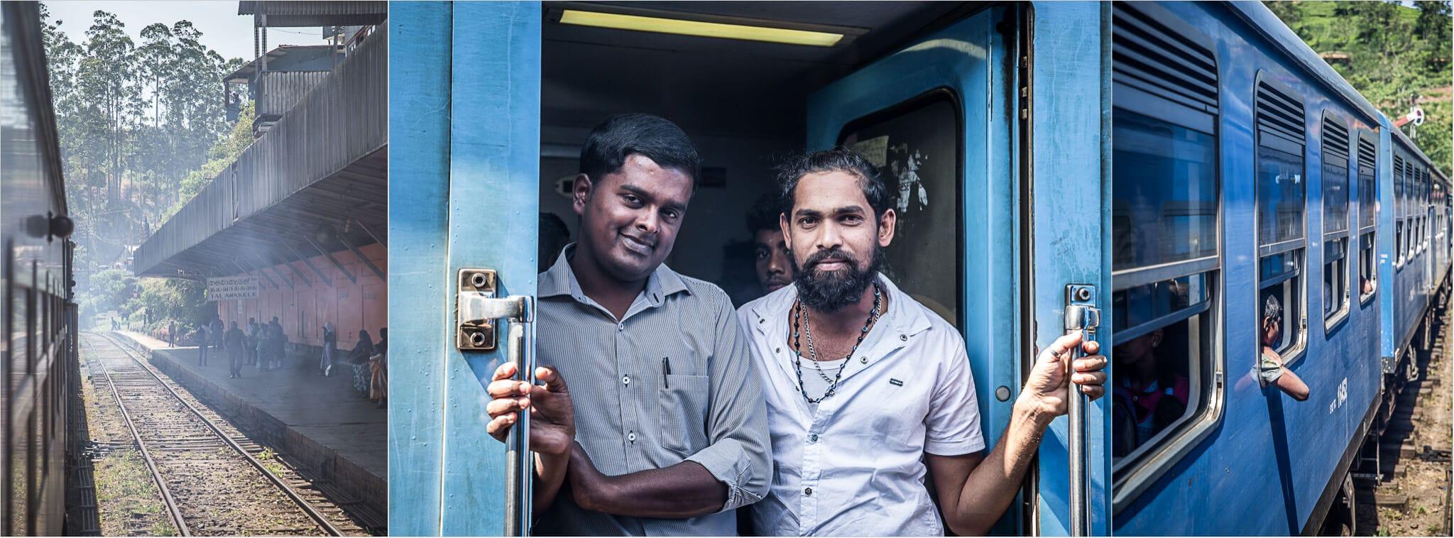 Zwei Männer im Zug von Sri Lanka in Ella