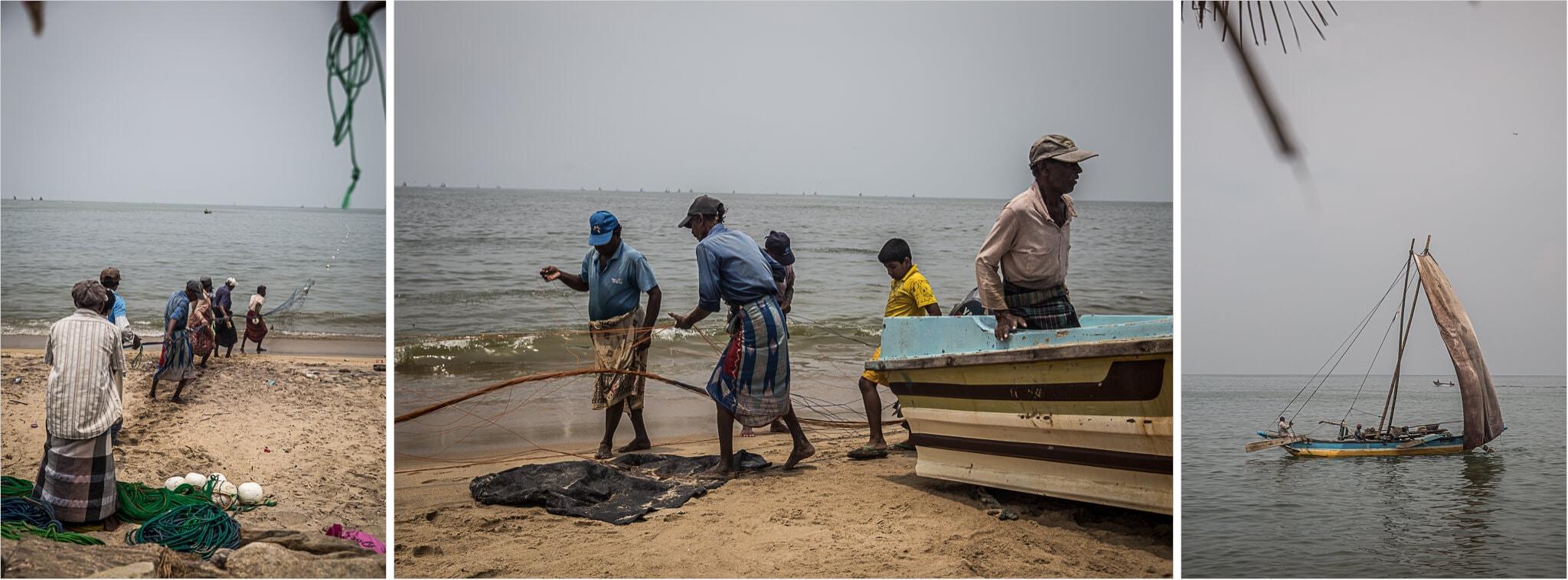 Fischer in Negombo am Strand
