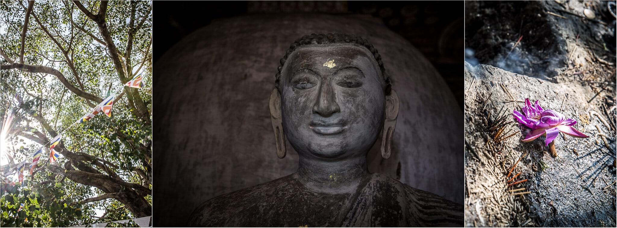 Buddha Gesicht und Lotusblüten mit Räucherstäbchen