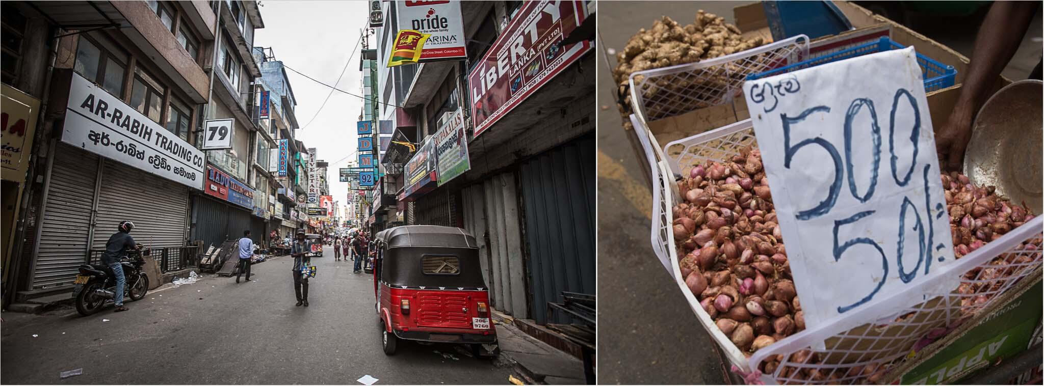 Seitenstraßen und Markt von Colombo, Sri Lanka